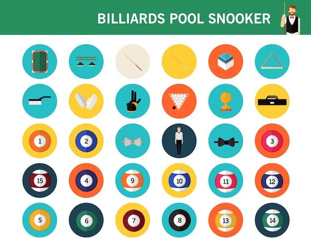 Flache ikonen des billardpool-snookerkonzeptes.