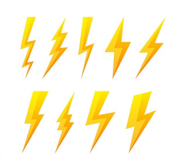 Flache ikonen des blitzes eingestellt