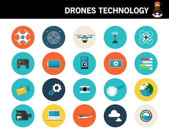 Flache Ikonen des Drohnetechnologie-Konzeptes