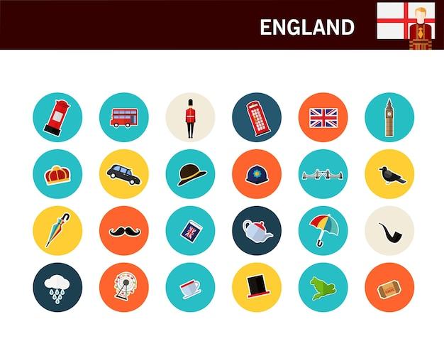 Flache ikonen des england-konzeptes