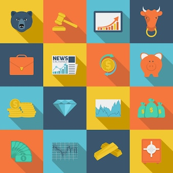 Flache ikonen des finanzaustausches