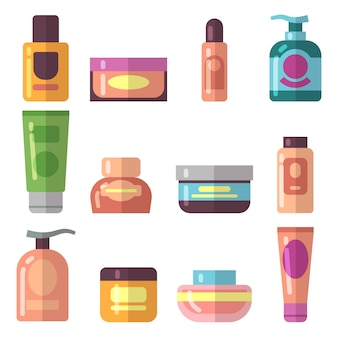 Flache ikonen des frauenschönheitskosmetikprodukt-vektors