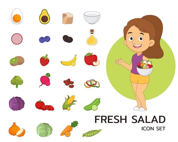 Flache ikonen des frischen salatkonzeptes.