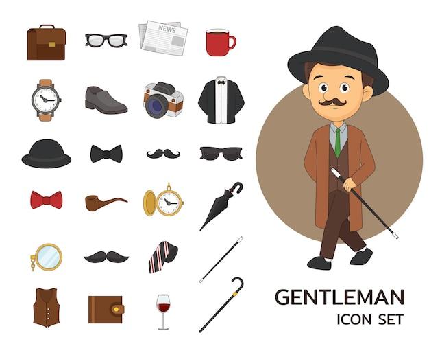 Flache ikonen des gentleman-konzepts.