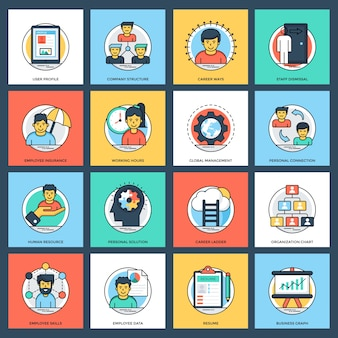 Flache ikonen des geschäfts-und daten-managements eingestellt