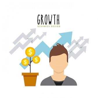 Flache ikonen des geschäftswachstumsfonds