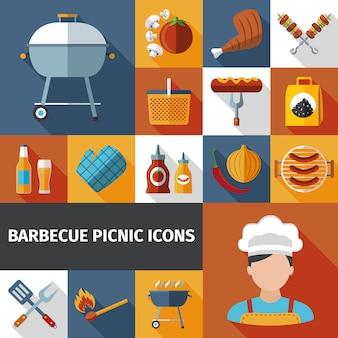 Flache ikonen des grillpicknicks eingestellt