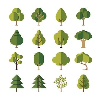 Flache ikonen des grünen sommerwaldbaums