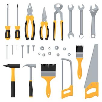 Flache ikonen des industriellen werkzeugvektors der bauhardware