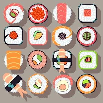 Flache ikonen des japanischen küchelebensmittels der sushi