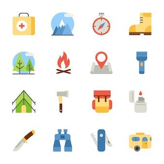 Flache ikonen des kampierens und des wanderns