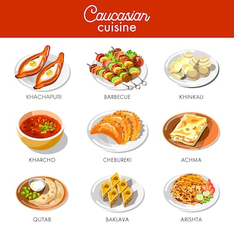 Flache ikonen des kaukasischen oder georgischen küchenmenü-vektors eingestellt