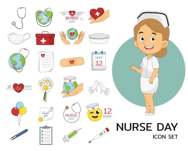 Flache ikonen des krankenschwester-tageskonzeptes
