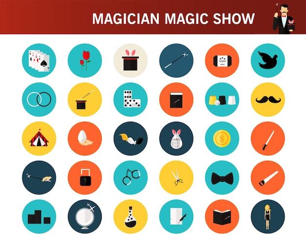 Flache ikonen des magischen zaubershow-konzeptes.