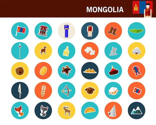 Flache ikonen des mongolei-konzeptes