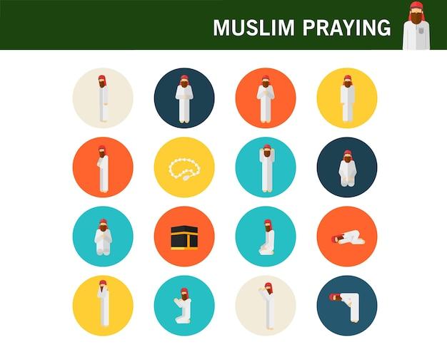 Flache ikonen des moslemischen betenden positionskonzeptes