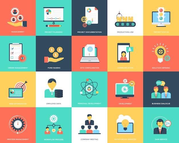 Flache ikonen des projekt-managements