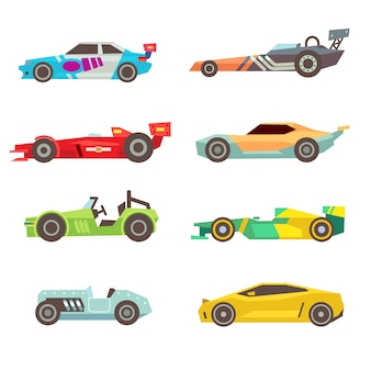 Flache ikonen des sportrennwagens lokalisiert auf weiß