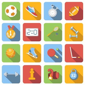 Flache ikonen des sports stellten bilder mit langem schatten im quadrat ein