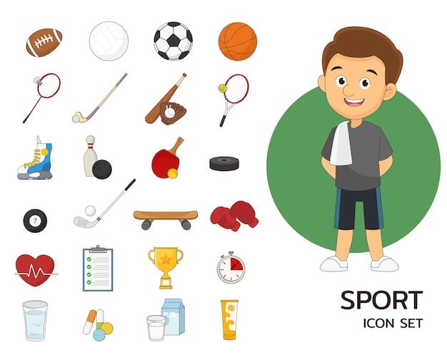 Flache ikonen des sportsatzkonzeptes