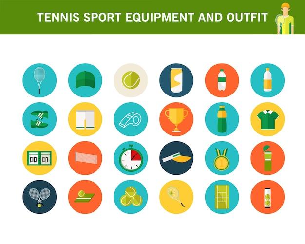 Flache ikonen des tennissportausrüstungs- und -ausstattungskonzeptes.
