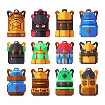 Flache ikonen des touristischen rucksackvektors. wanderersack lokalisiert auf weiß. rucksack und rucksack zum mitnehmen
