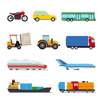Flache ikonen des transports eingestellt