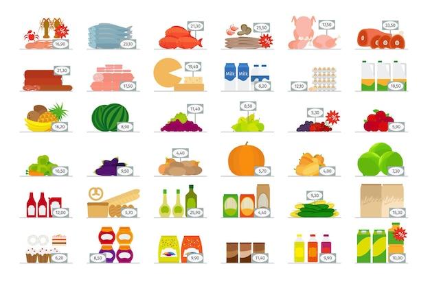 Flache ikonen des vektorlebensmittelmarktes mit preisschildern