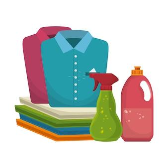Flache ikonen des wäscheraums