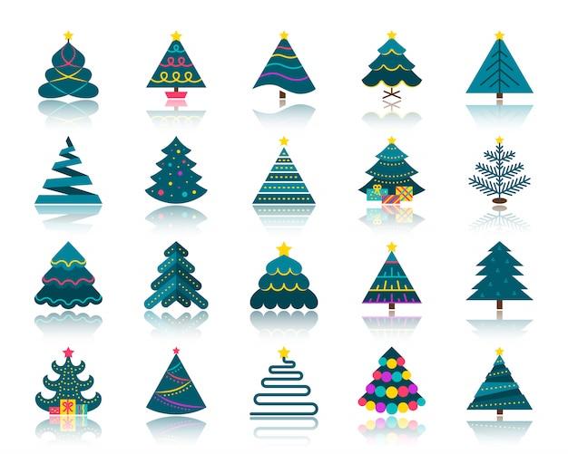 Flache ikonen des weihnachtsbaums stellten, winterweihnachten, symbol des neuen jahres, stilisierte fichte, tanne, kiefernzeichen ein.