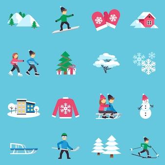 Flache ikonen des winters eingestellt