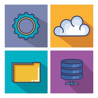 Flache ikonen des wolkenverarbeitungssets