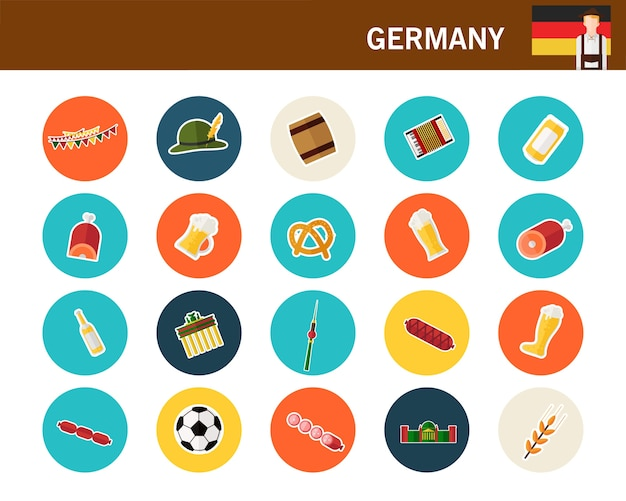 Flache ikonen deutschland-konzeptes