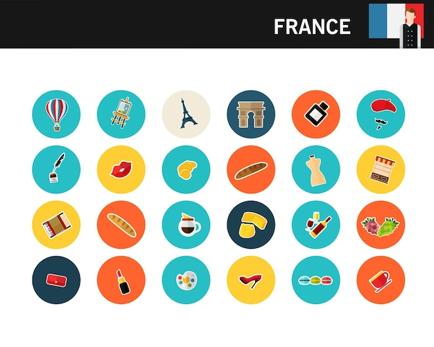 Flache ikonen frankreich-konzeptes