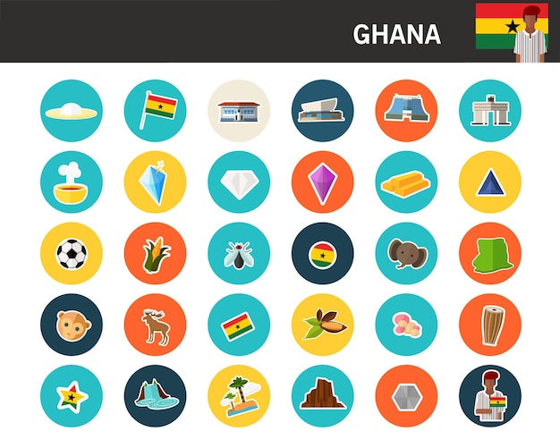 Flache ikonen ghana-konzeptes