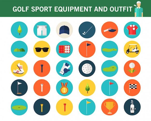 Flache ikonen golf-sportausrüstung ans-ausstattungskonzeptes.