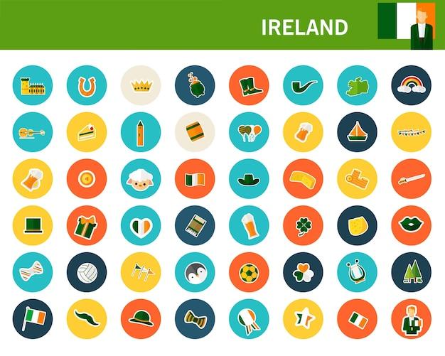 Flache ikonen irland-konzeptes