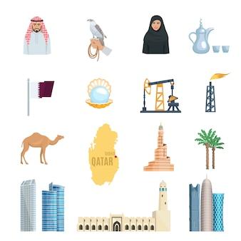 Flache ikonen katars, die mit erdölmoscheen-wolkenkratzern und symbolen der kultur eingestellt wurden, lokalisierten vektorillustration