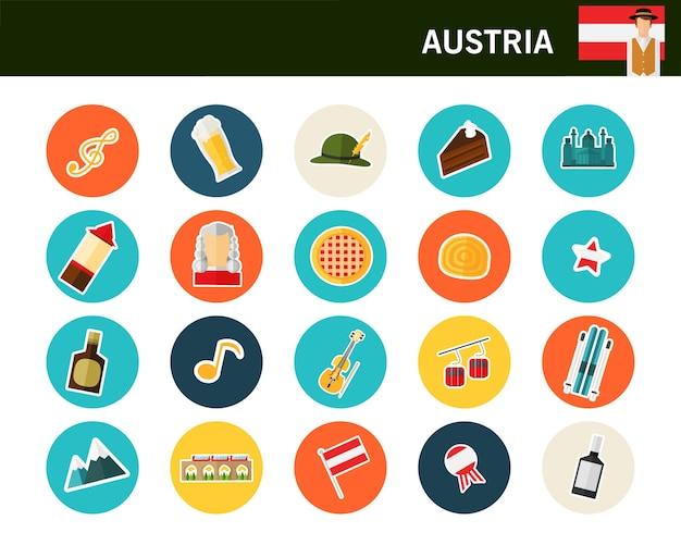 Flache ikonen österreich-konzeptes