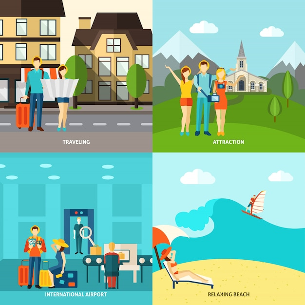 Flache ikonen quadratischer fahne des tourismus 4