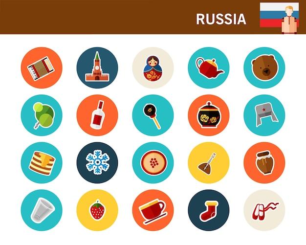 Flache ikonen russland-konzeptes