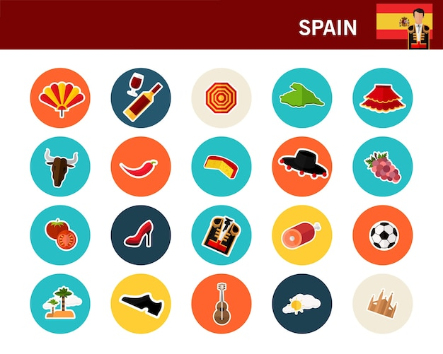 Flache ikonen spanien-konzeptes