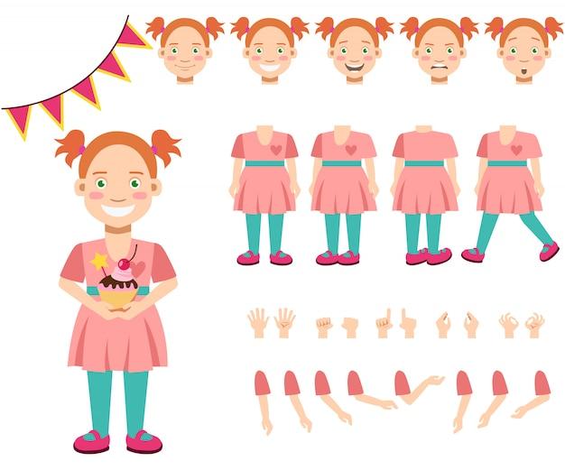 Flache ikonen stellten vom lächelnden mädchen mit kleinem kuchen ein