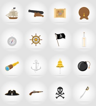 Flache ikonen-vektorillustration des piraten