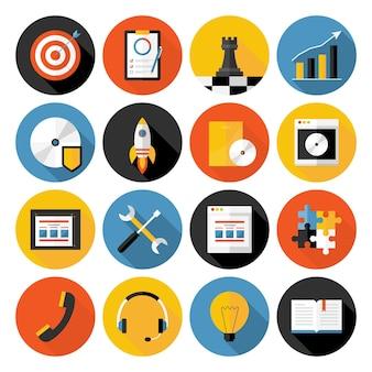 Flache ikonen-vektorsammlung mit langem schatten von webdesign-objekten, geschäfts-, büro- und marketingartikeln. flache stilisierte symbole mit langen schatten