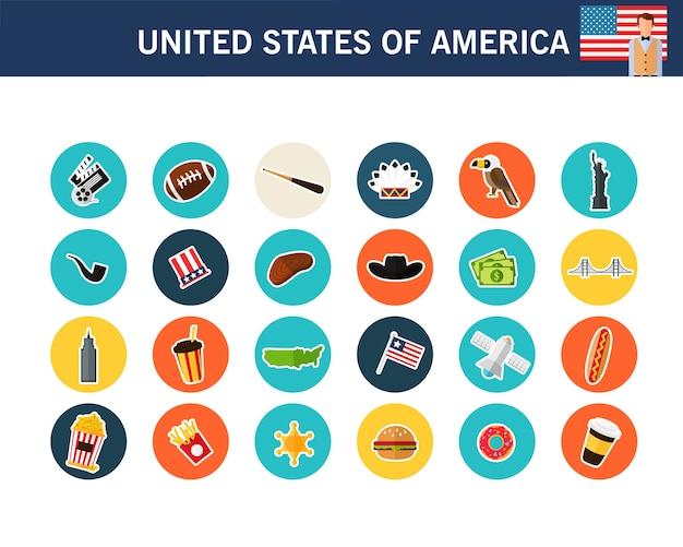 Flache ikonen vereinigten staaten von amerika-konzeptes