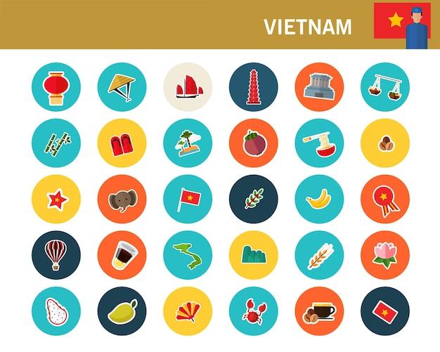 Flache ikonen vietnam-konzeptes
