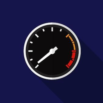 Flache ikonenillustration des geschwindigkeitsmessers lokalisierte vektorzeichensymbol