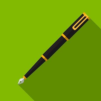 Flache ikonenillustration des tintenstiftes lokalisiertes vektorzeichensymbol