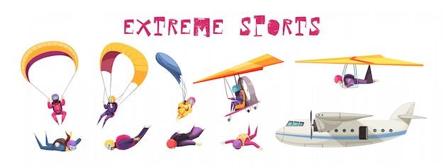 Flache ikonensammlung der extremsportelemente des fallschirmspringens mit dem flugzeugsegelflugzeug des freien falls des fallschirmsprungs lokalisiert